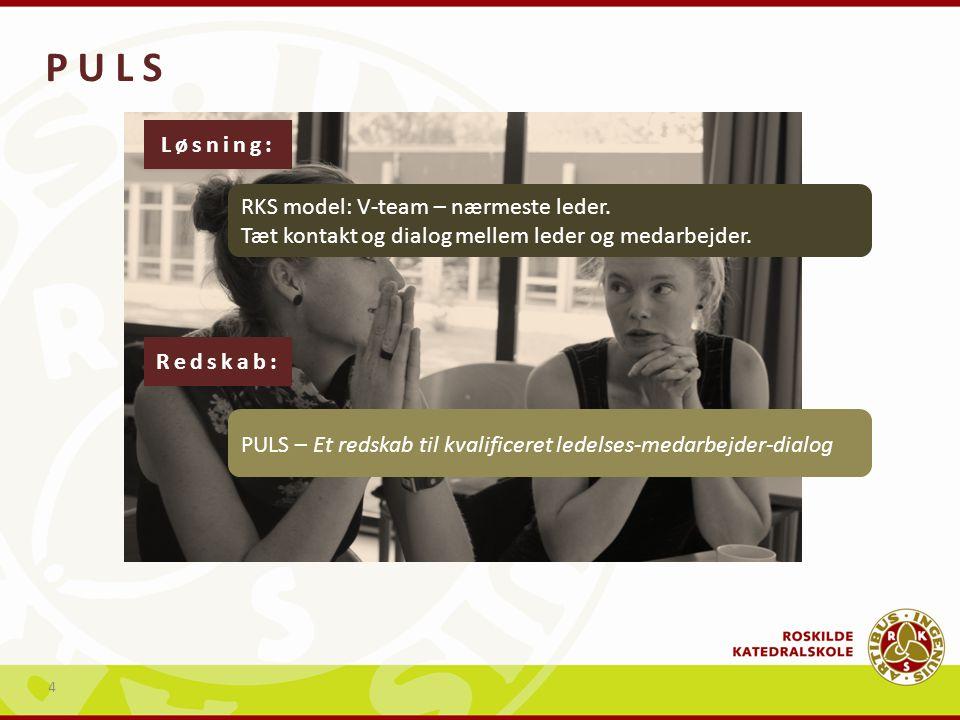 P U L S Løsning: RKS model: V-team – nærmeste leder. Tæt kontakt og dialog mellem leder og medarbejder.