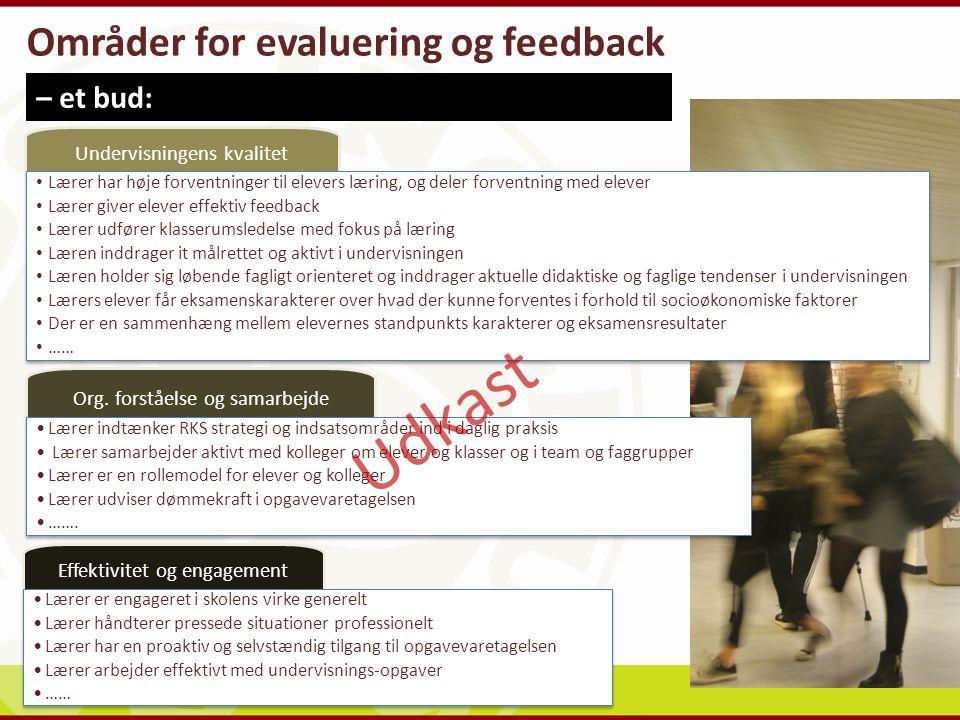 Udkast Områder for evaluering og feedback – et bud: