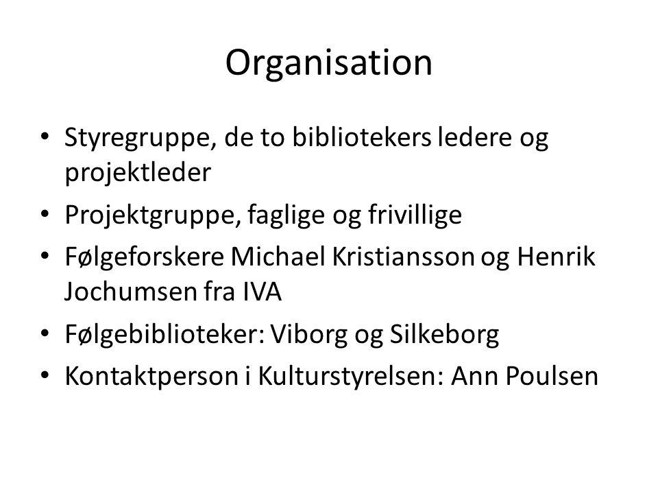 Organisation Styregruppe, de to bibliotekers ledere og projektleder