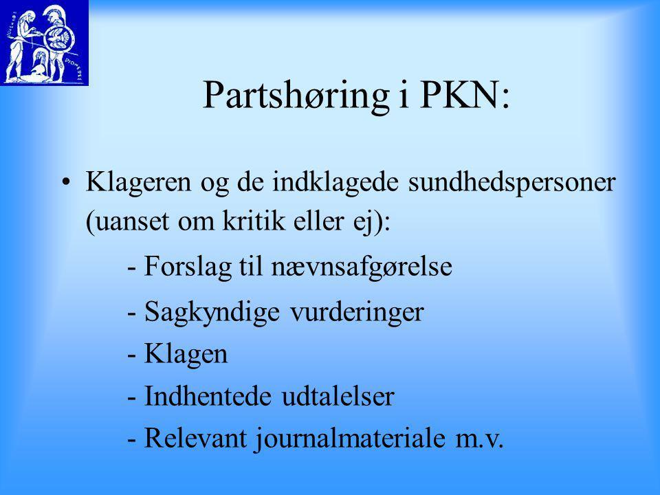 Partshøring i PKN: Klageren og de indklagede sundhedspersoner (uanset om kritik eller ej): - Forslag til nævnsafgørelse.