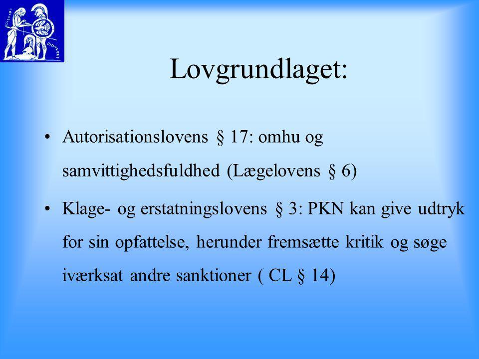 Lovgrundlaget: Autorisationslovens § 17: omhu og samvittighedsfuldhed (Lægelovens § 6)