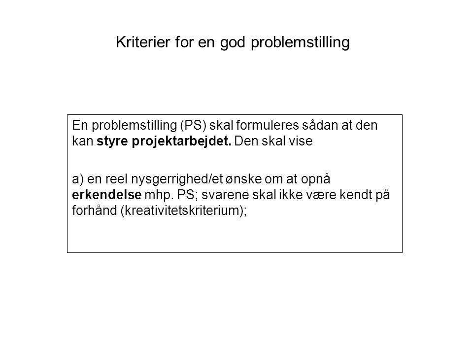 Kriterier for en god problemstilling