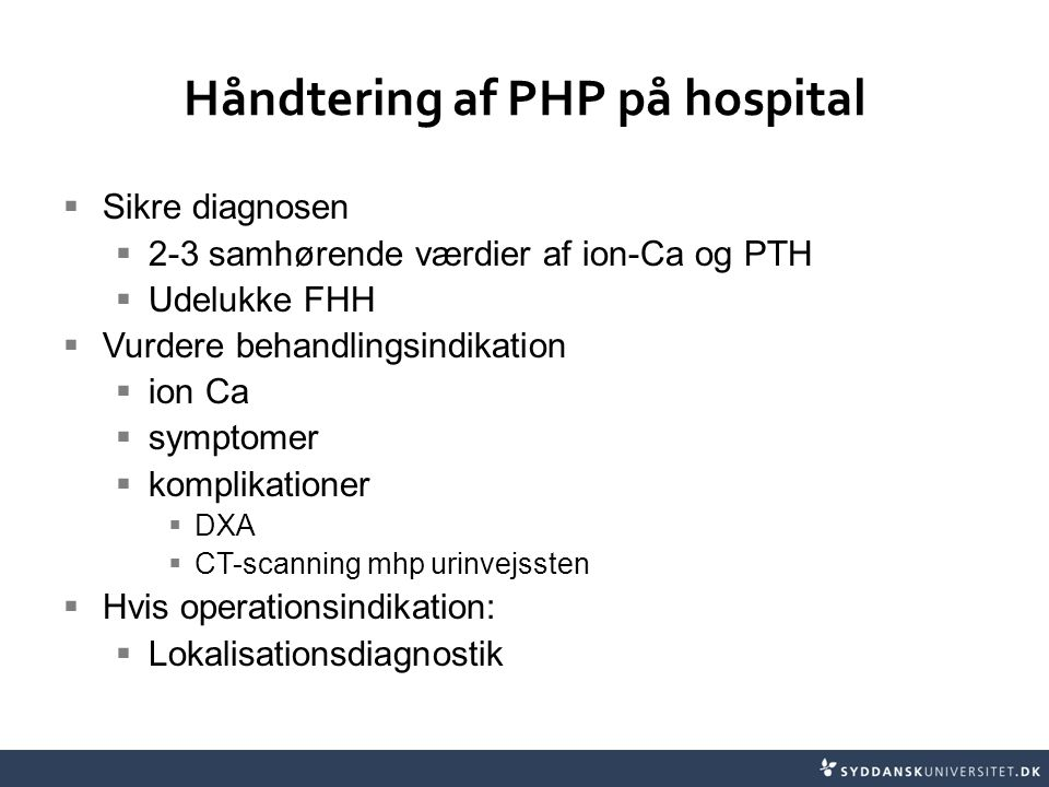 Håndtering af PHP på hospital