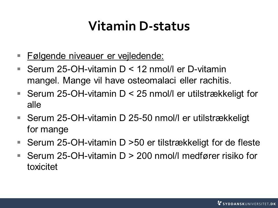 Vitamin D-status Følgende niveauer er vejledende: