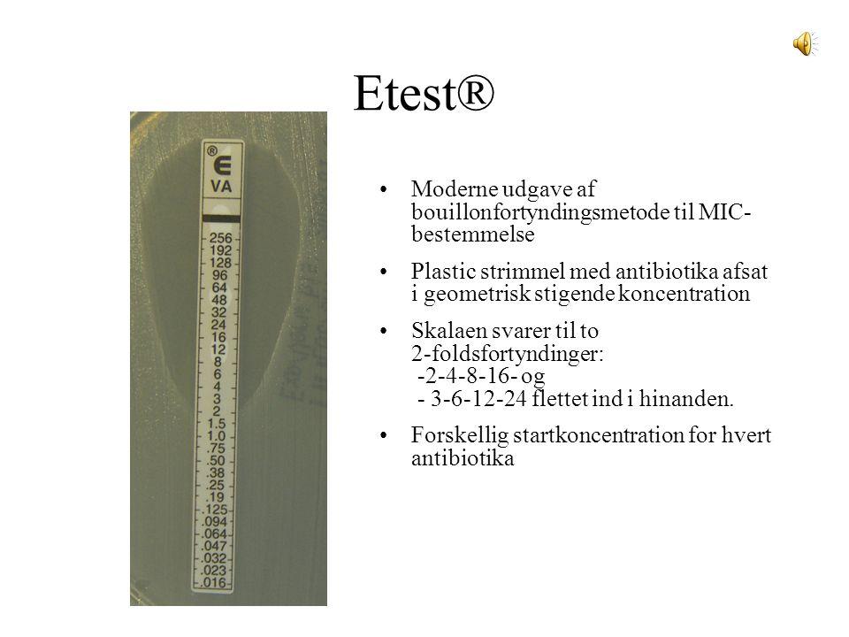 Etest® Moderne udgave af bouillonfortyndingsmetode til MIC-bestemmelse