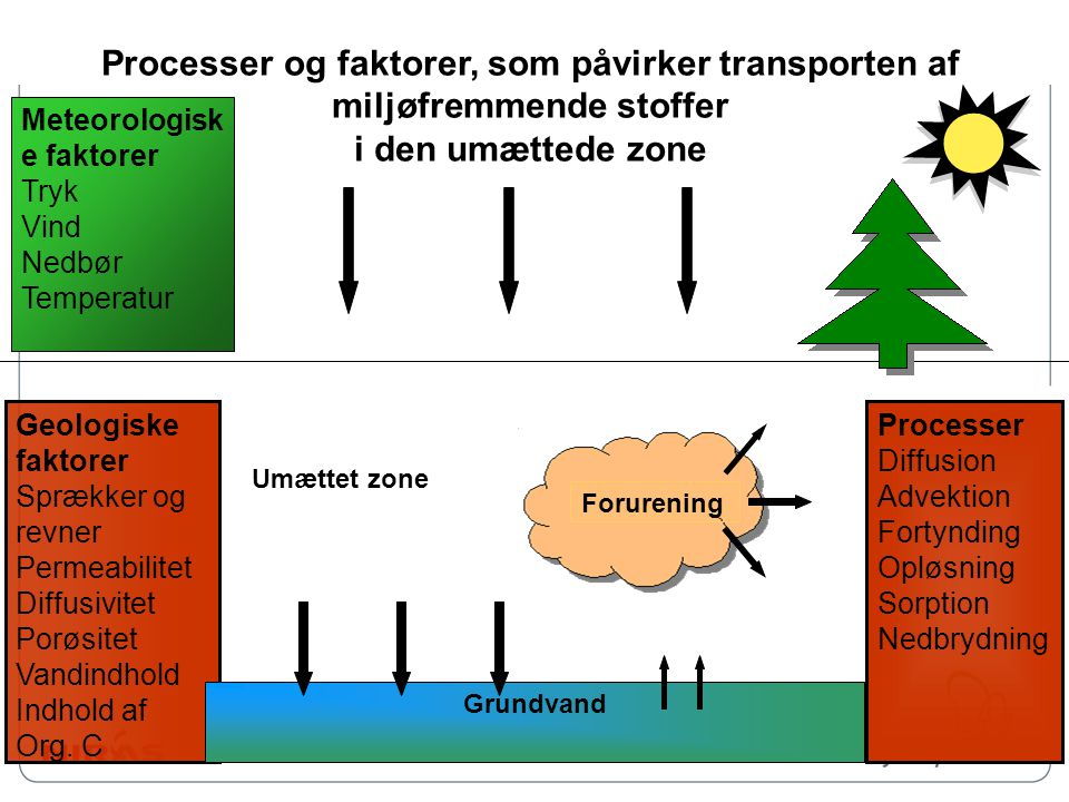Processer og faktorer, som påvirker transporten af miljøfremmende stoffer