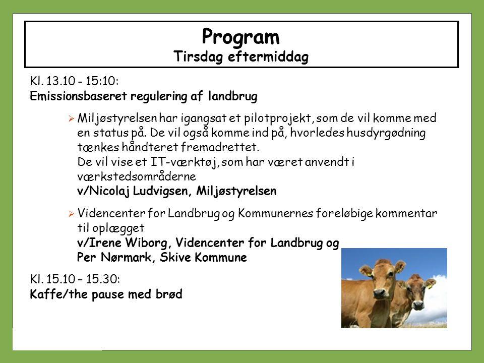 Program Tirsdag eftermiddag Kl. 13.10 - 15:10: