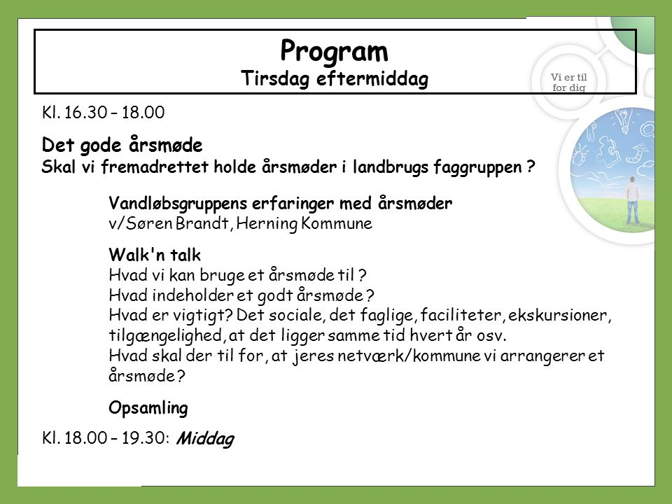 Program Tirsdag eftermiddag