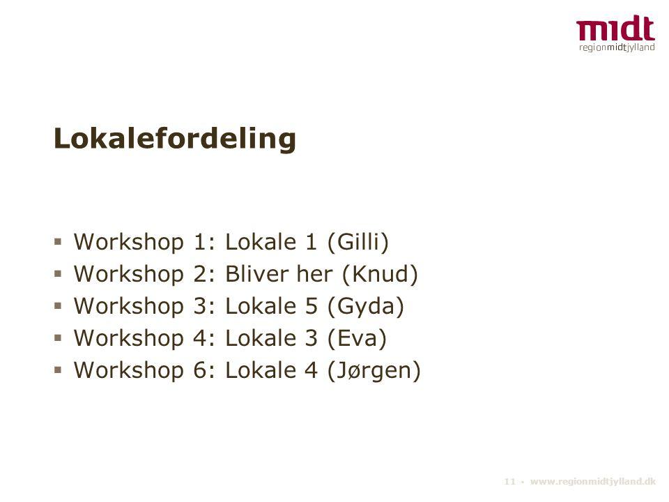 Lokalefordeling Workshop 1: Lokale 1 (Gilli)