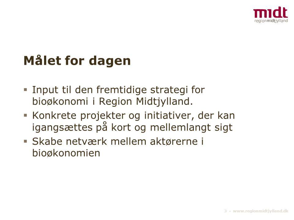 Målet for dagen Input til den fremtidige strategi for bioøkonomi i Region Midtjylland.