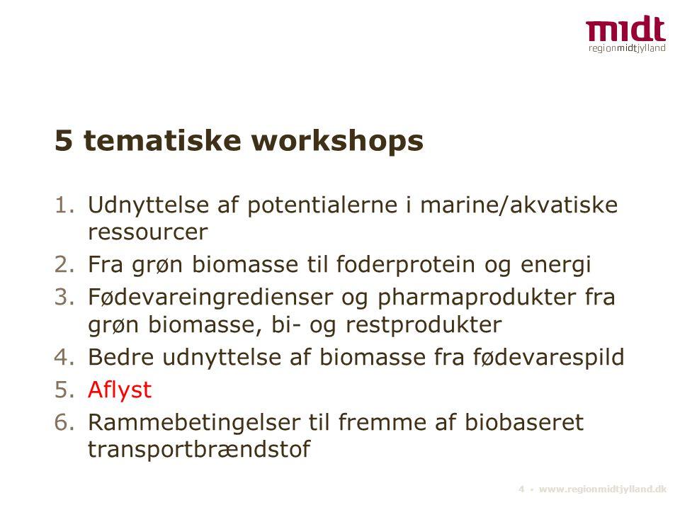 5 tematiske workshops Udnyttelse af potentialerne i marine/akvatiske ressourcer. Fra grøn biomasse til foderprotein og energi.