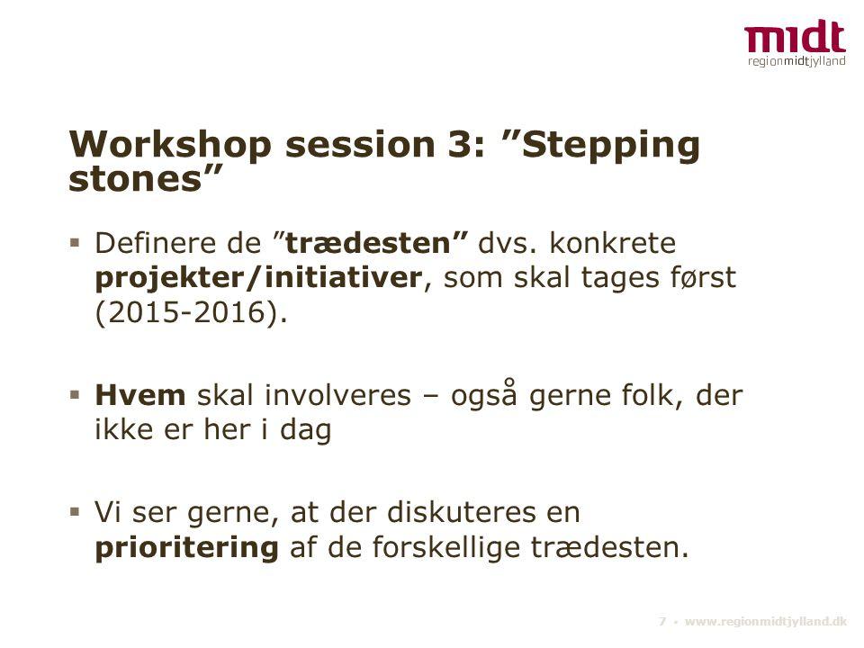 Workshop session 3: Stepping stones