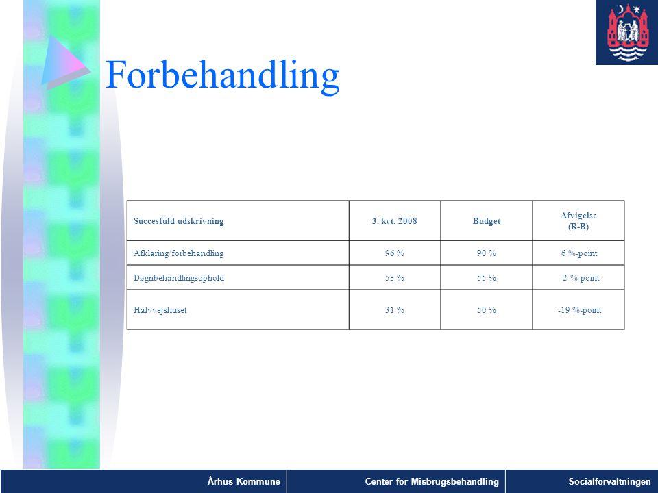 Forbehandling Succesfuld udskrivning 3. kvt. 2008 Budget Afvigelse