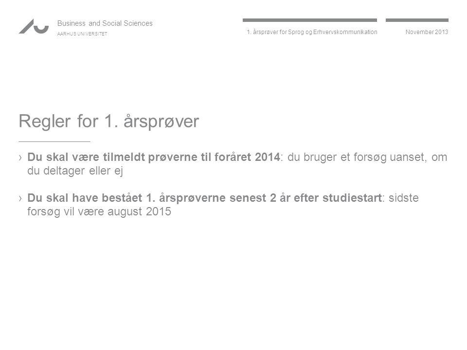 Regler for 1. årsprøver Du skal være tilmeldt prøverne til foråret 2014: du bruger et forsøg uanset, om du deltager eller ej.