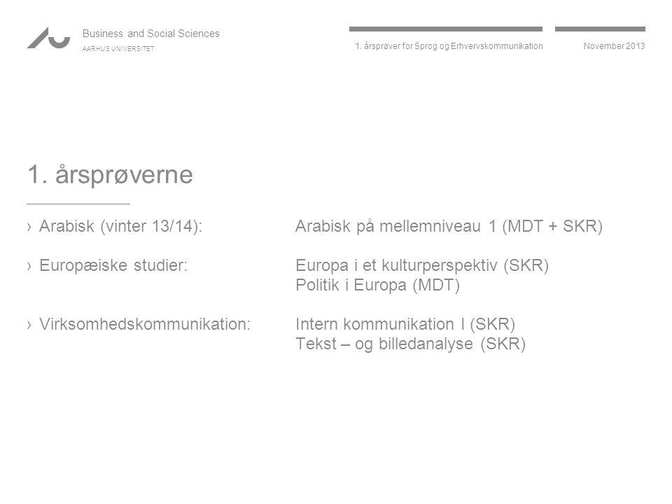 1. årsprøverne Arabisk (vinter 13/14): Arabisk på mellemniveau 1 (MDT + SKR) Europæiske studier: Europa i et kulturperspektiv (SKR)