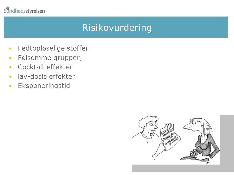 Risikovurdering Fedtopløselige stoffer Følsomme grupper,