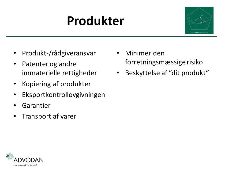 Produkter Produkt-/rådgiveransvar