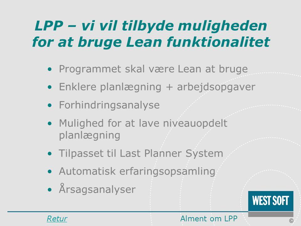LPP – vi vil tilbyde muligheden for at bruge Lean funktionalitet