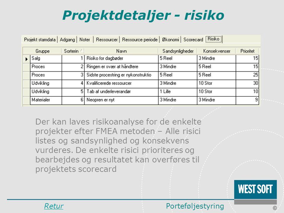 Projektdetaljer - risiko