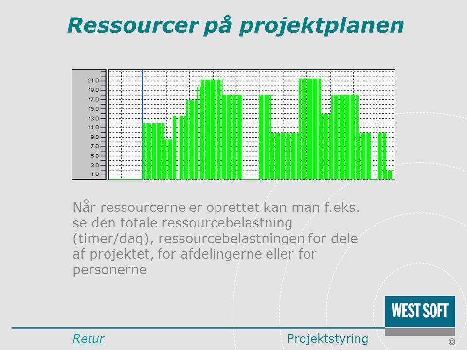 Ressourcer på projektplanen