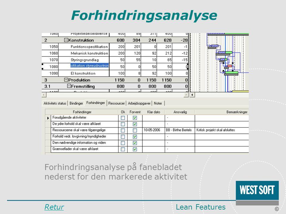 Forhindringsanalyse Forhindringsanalyse på fanebladet nederst for den markerede aktivitet.