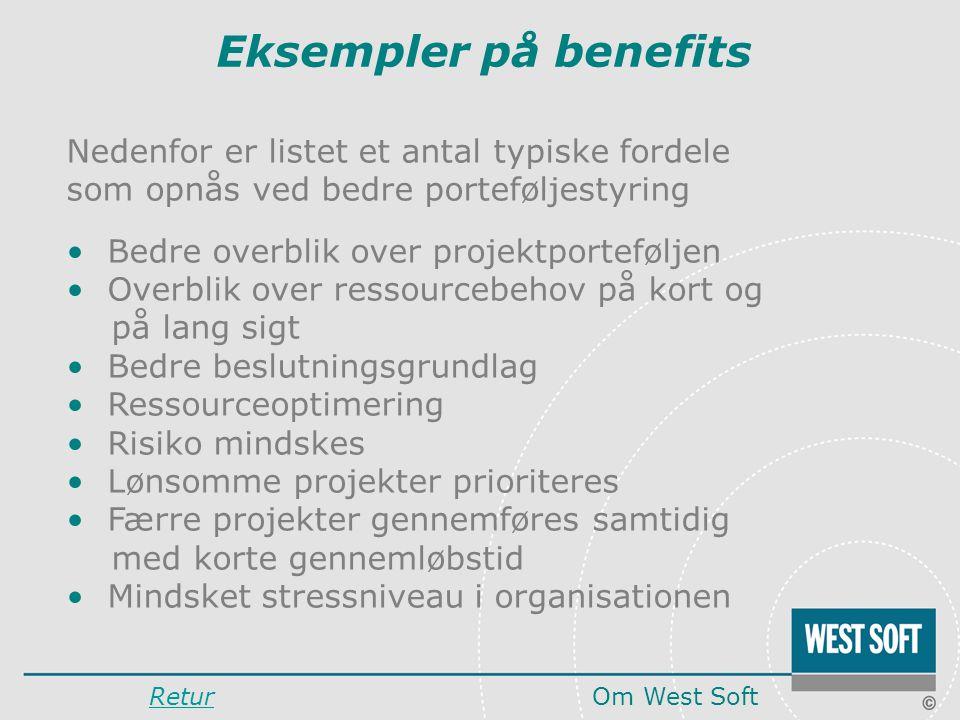Eksempler på benefits Nedenfor er listet et antal typiske fordele som opnås ved bedre porteføljestyring.