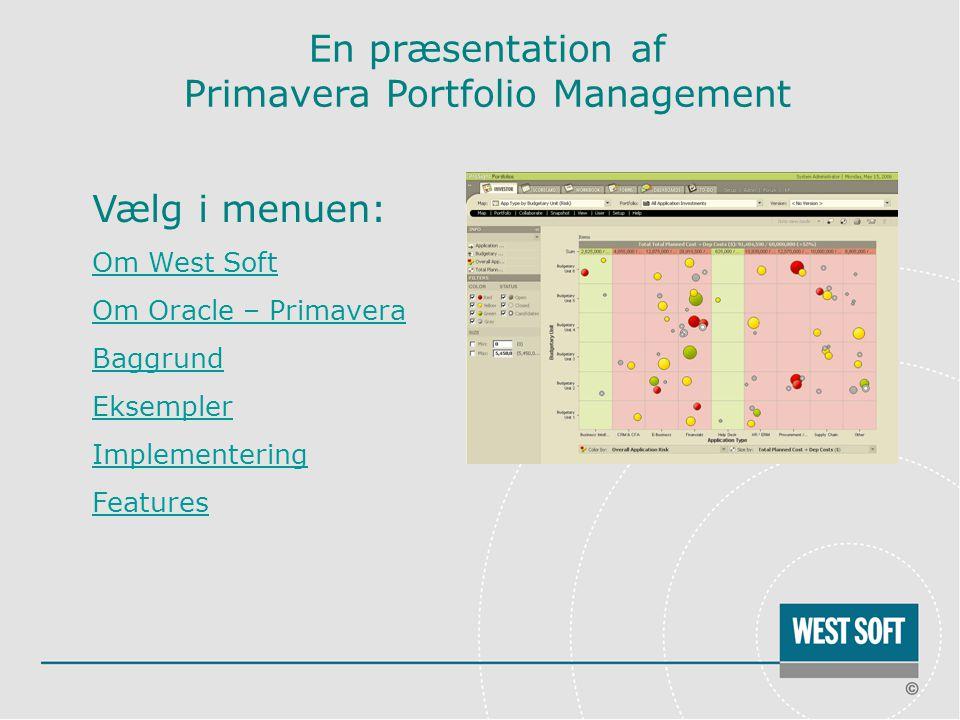 En præsentation af Primavera Portfolio Management