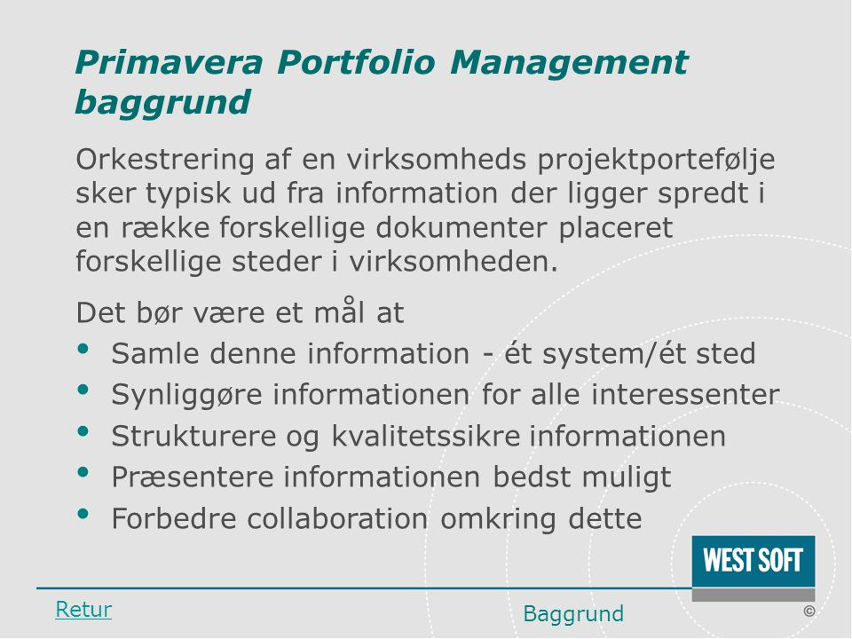 Primavera Portfolio Management baggrund