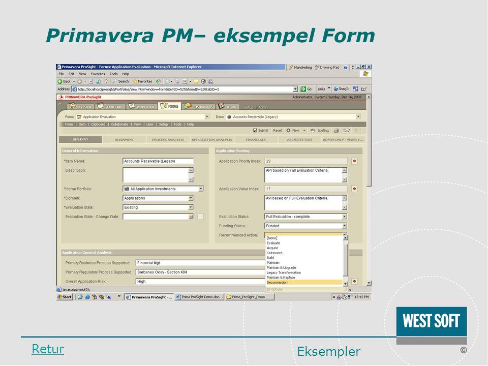 Primavera PM– eksempel Form
