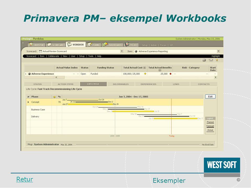 Primavera PM– eksempel Workbooks