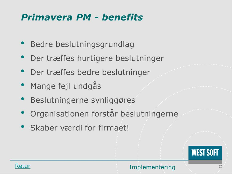 Primavera PM - benefits