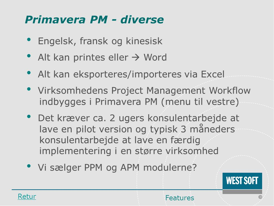 Primavera PM - diverse Engelsk, fransk og kinesisk