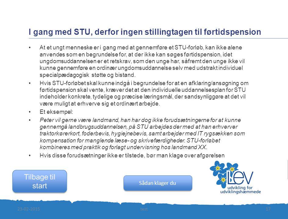 I gang med STU, derfor ingen stillingtagen til førtidspension