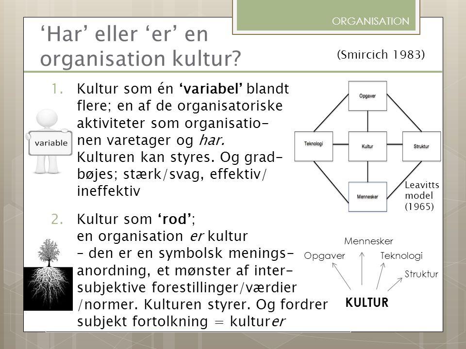 'Har' eller 'er' en organisation kultur