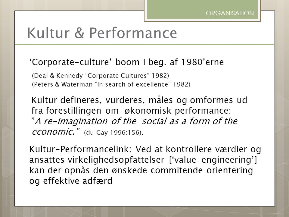ORGANISATION Kultur & Performance.