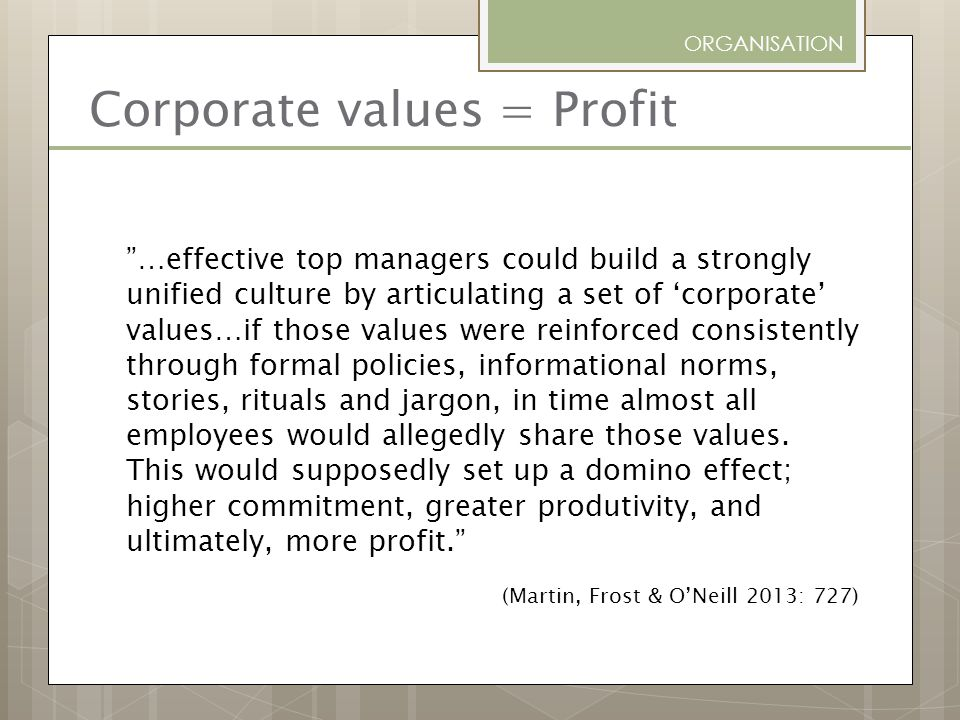 Corporate values = Profit