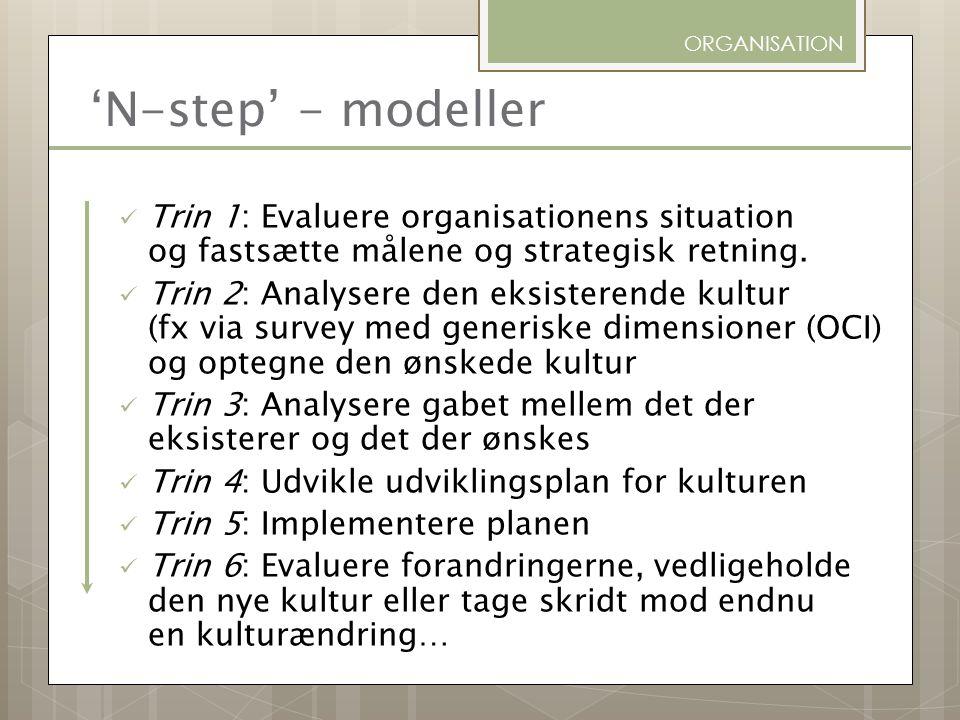 ORGANISATION 'N-step' - modeller. Trin 1: Evaluere organisationens situation og fastsætte målene og strategisk retning.