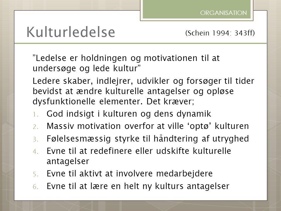 ORGANISATION Kulturledelse. (Schein 1994: 343ff) Ledelse er holdningen og motivationen til at undersøge og lede kultur