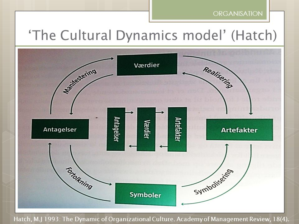 'The Cultural Dynamics model' (Hatch)