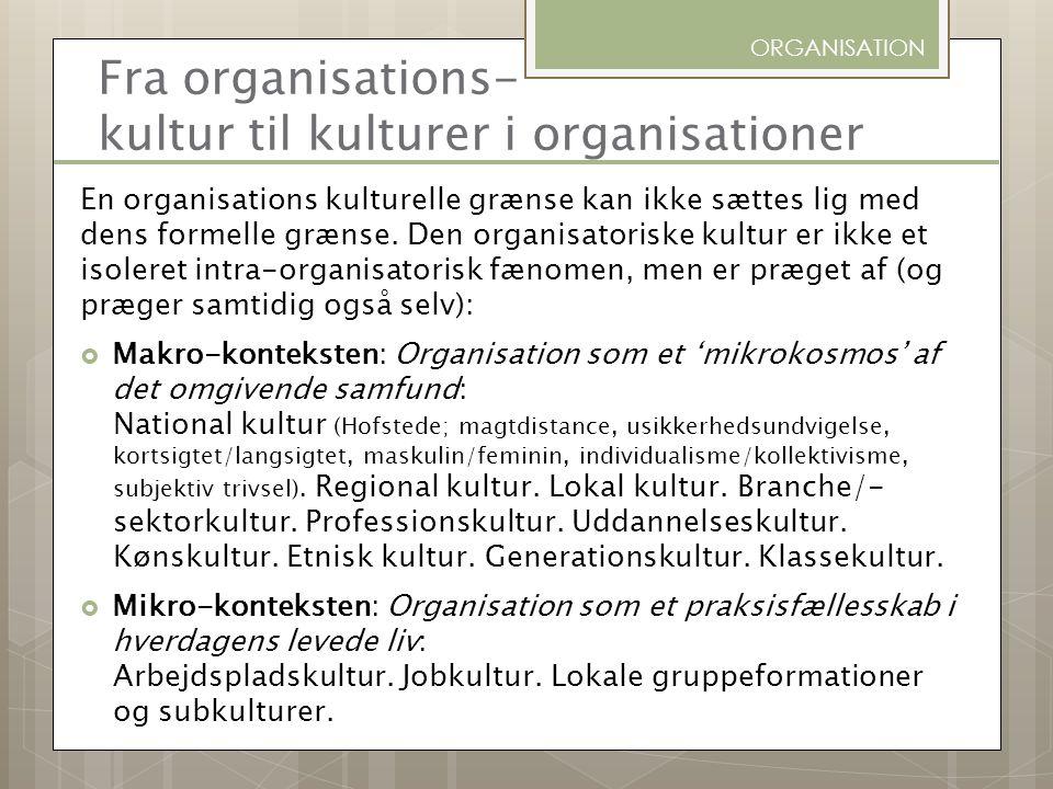 Fra organisations- kultur til kulturer i organisationer