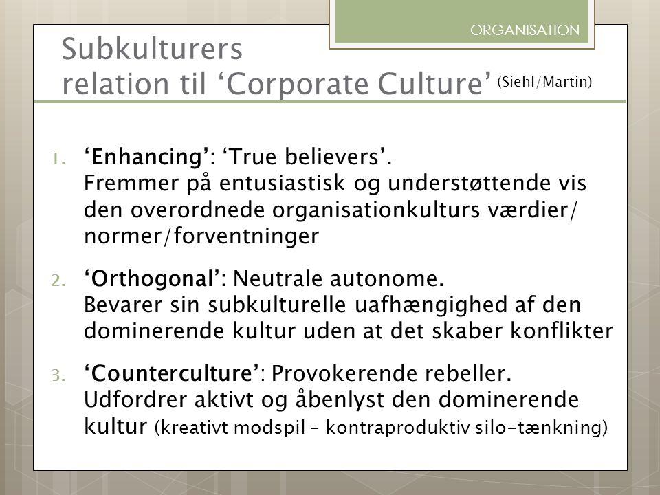 Subkulturers relation til 'Corporate Culture'