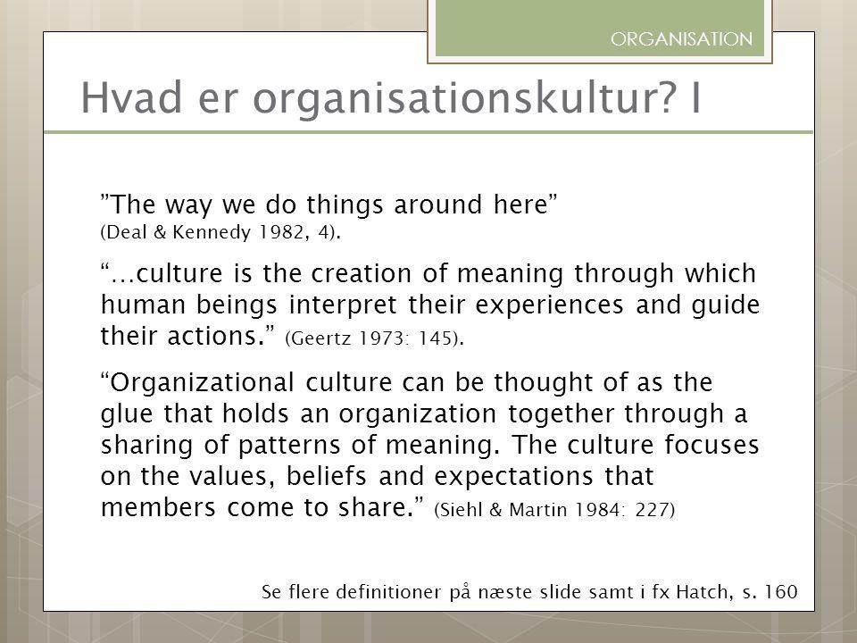 Hvad er organisationskultur I