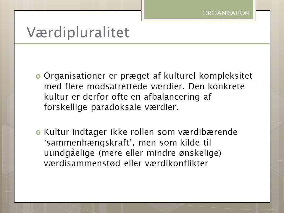 ORGANISATION Værdipluralitet.