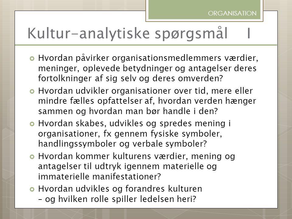 Kultur-analytiske spørgsmål I