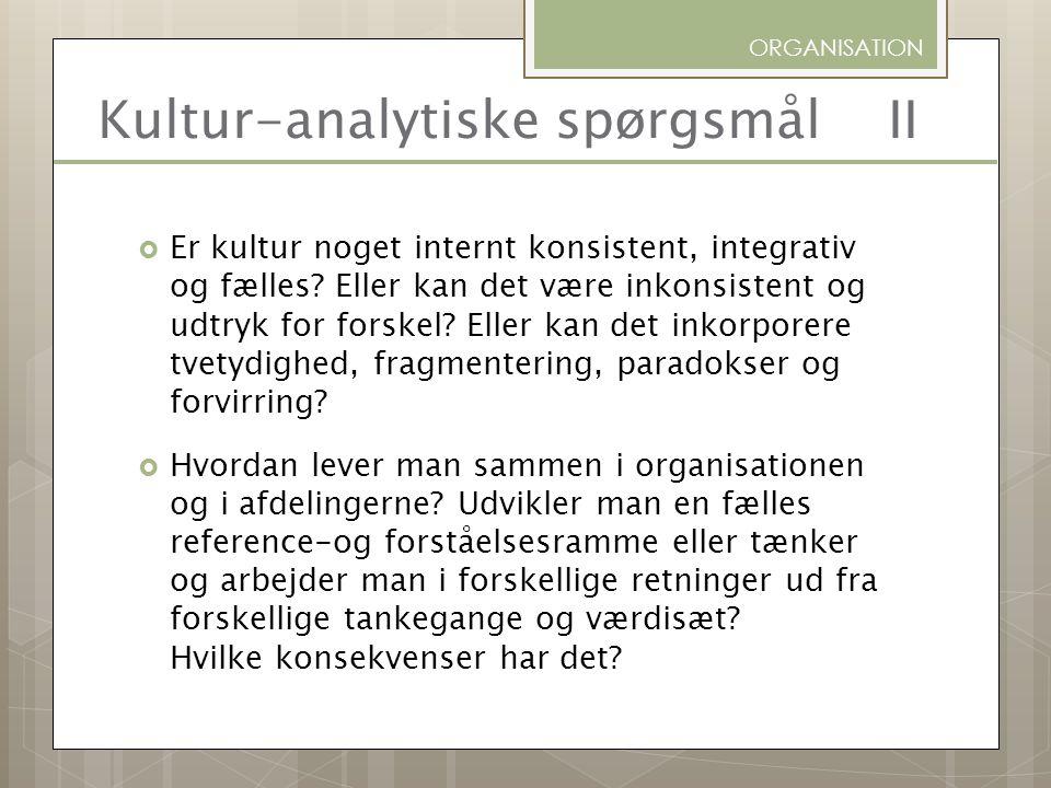 Kultur-analytiske spørgsmål II
