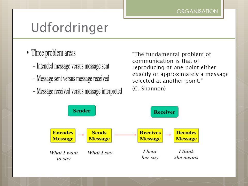 Udfordringer ORGANISATION