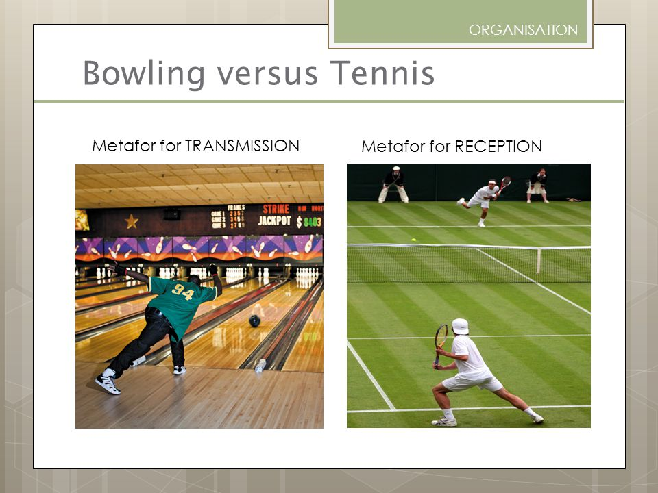 Bowling versus Tennis Metafor for TRANSMISSION Metafor for RECEPTION