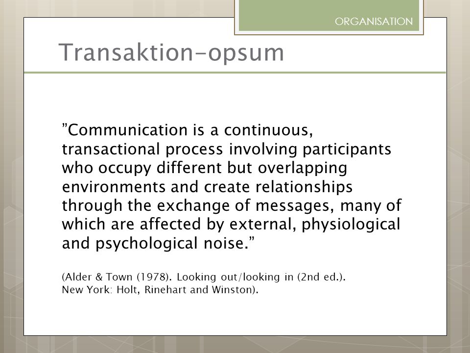 ORGANISATION Transaktion-opsum.