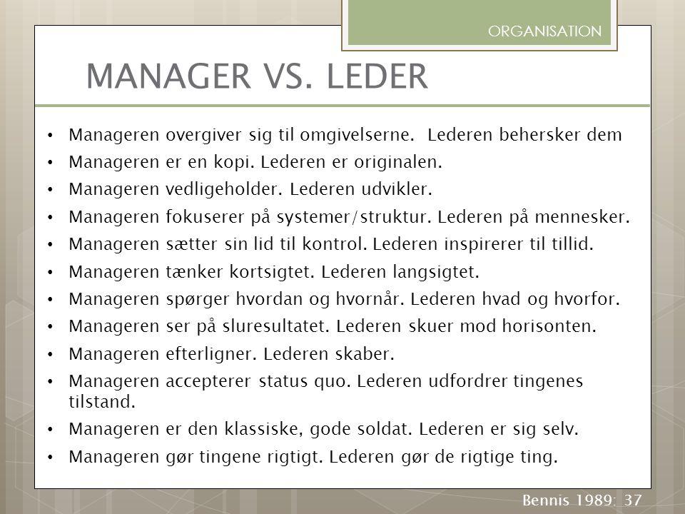 ORGANISATION MANAGER VS. LEDER. Manageren overgiver sig til omgivelserne. Lederen behersker dem. Manageren er en kopi. Lederen er originalen.