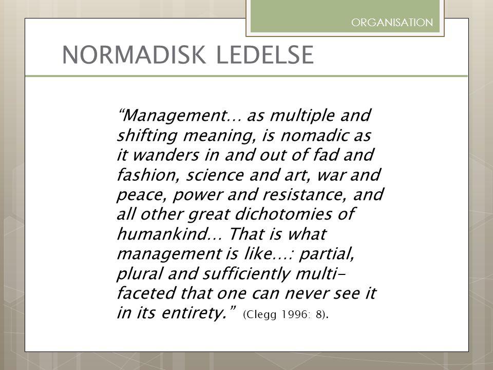 ORGANISATION NORMADISK LEDELSE.